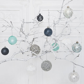 Set of 30 Assorted Baubles - Night Blue