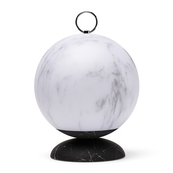 Cloche LED Lantern - White/Black Marble