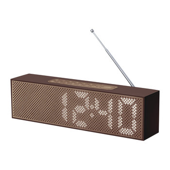 Titanium Bamboo LED Clock Radio - Brown