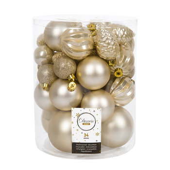 Set of 34 Assorted Baubles - Pearl
