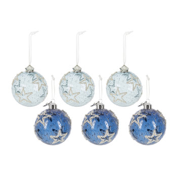 Assorted Frosted Baubles with Star - Set of 6