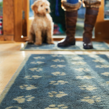 Paws Washable Recycled Door Mat - 65x150cm - Navy