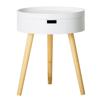 White MDF Sidetable with Storage Compartment
