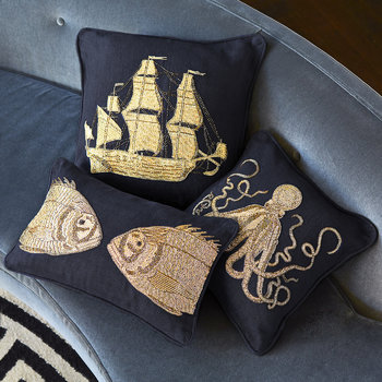 Aquatica Ship Cushion - Ship - 50.8x50.8cm
