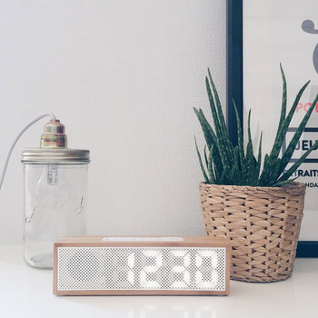 Titanium Bamboo LED Clock Radio - Bamboo White