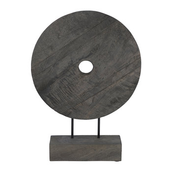 Wooden Circle Sculpture - Gray