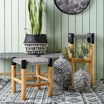 Weave Stool - Black/White - Low