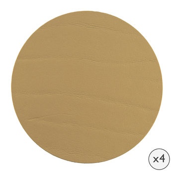Round Leather Coasters - Set of 4 - Gold