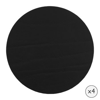 Round Leather Coasters - Set of 4 - Black