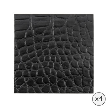 Gator Recycled Leather Coasters - Set of 4 - Coal