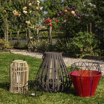 Thin Base Rope Lantern - Coral