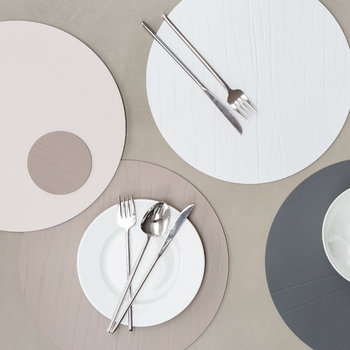Round Leather Placemat - Cloud