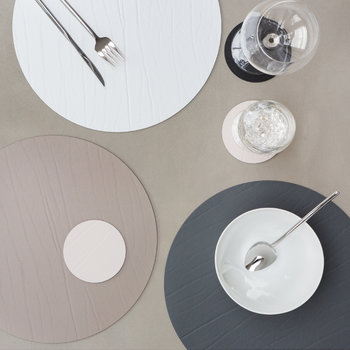 Round Leather Placemat - Graphite