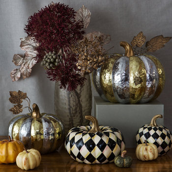 Courtly Check Pumpkin Ornament - Small