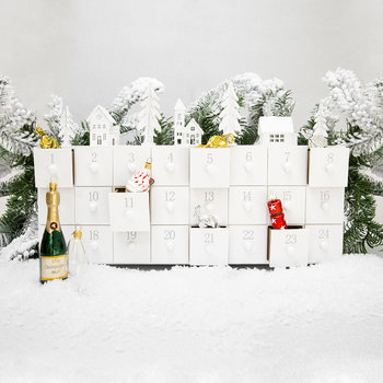 Wooden Advent Calendar with Scenery - Winter White