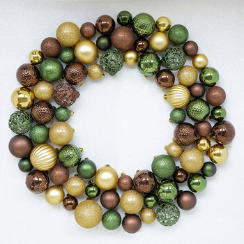 Set of 30 Assorted Baubles - Pine Green