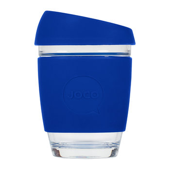 Reusable Glass Travel Cup - 340ml - Cobalt Blue