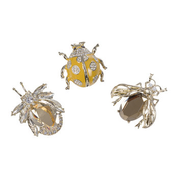 Enamel Bug Clips - Set of 3 - Gold