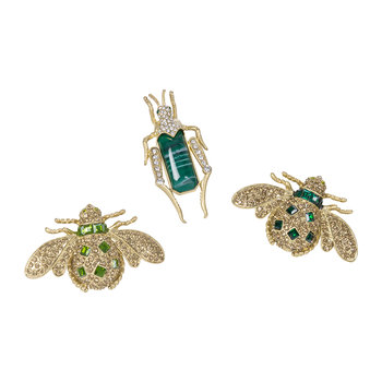 Jeweled Insect Clips - Set of 3 - Emerald/Green