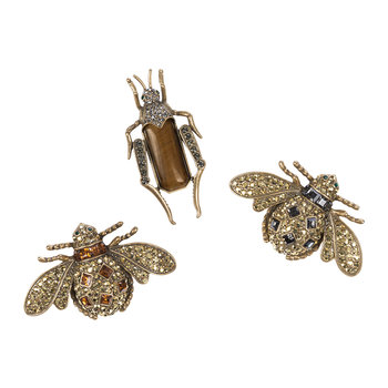 Jeweled Insect Tigers Eye Clips - Set of 3