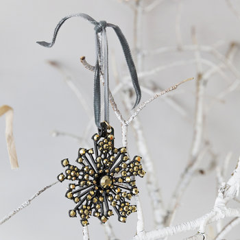 Snowflake Christmas Tree Decoration with Gold - Black - Gold/Black