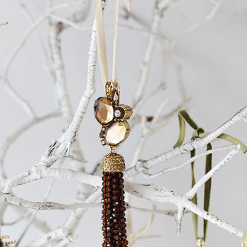Tassel Tree Decoration with Topaz - Gold - Gold/Topaz