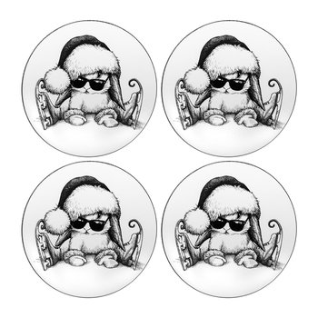 Clumsy Bunny Christmas Coaster - Set of 4