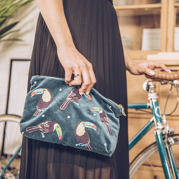 Toucan Velvet Travel Pouch