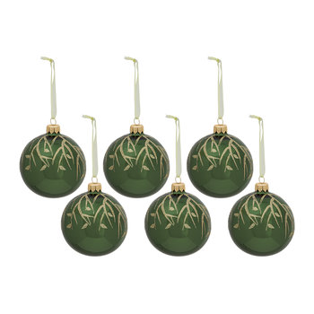 Bauble With Branch - Pine Green - Set of 6