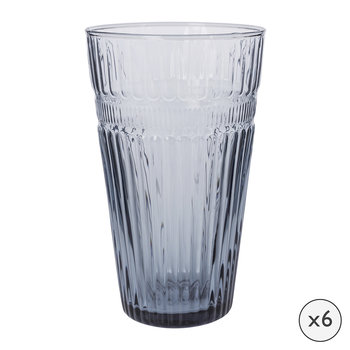 Verre highball baroque - Lot de six - Bleu de fer