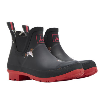 Women's Wellibob Short Wellies - Black Jumper Dogs