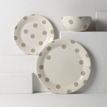 Deco Dot Dessert Plates - Beige - Set of 4