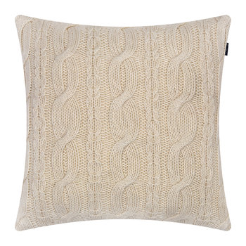 Chunky Cable Knit Pillow - 50x50cm - Eggshell