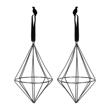 Set of 2 Diamond Wire Tree Decorations - Black