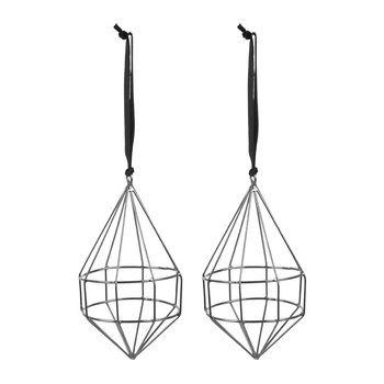 Set of 2 Geometric Wire Tree Decorations - Black