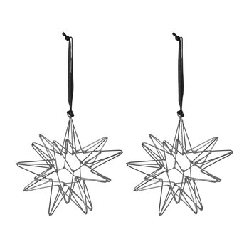 Set of 2 Wire Star Tree Decorations - Black