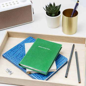 'Notes Before Bed' Small Leather Notebook - Emerald Green