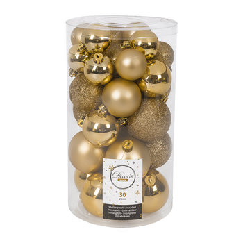 Set of 30 Assorted Baubles - Light Gold