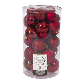 Set of 30 Assorted Baubles - Oxblood