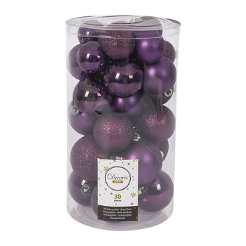 Set of 30 Assorted Baubles - Petunia Purple