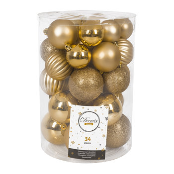 Set of 34 Assorted Baubles - Light Gold