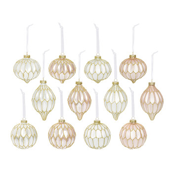 Matt & Shiny Baubles - Set of 12 - Pink/Winter White