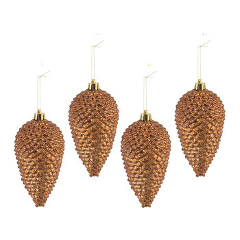 Pine Cone Tree Decoration - Set of 4 - Rusty Brown
