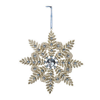 Metal Leaf Snowflake Christmas Tree Decoration