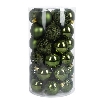 Set of 37 Assorted Baubles - Pine Green