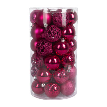 Set of 37 Assorted Baubles - Super Pink