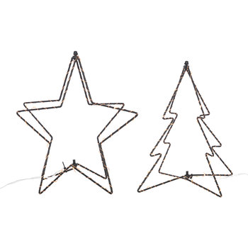 LED Christmas Tree and Star Table Lamps - Set of 2