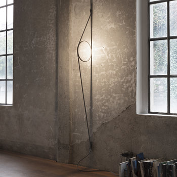WireRing Wall Light - Gray Cable/Gold Ring