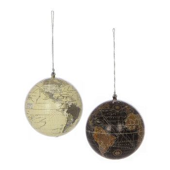World Map Baubles - Set of 2