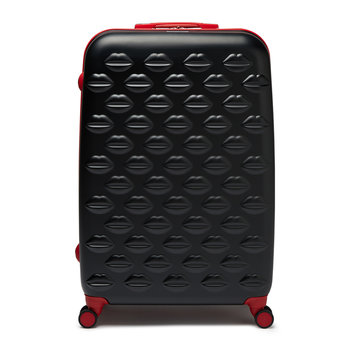 Lips Trolley Suitcase - Black/Red
